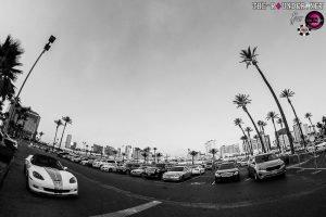 Rio WSOP parking lot with a North Strip skyline backdrop