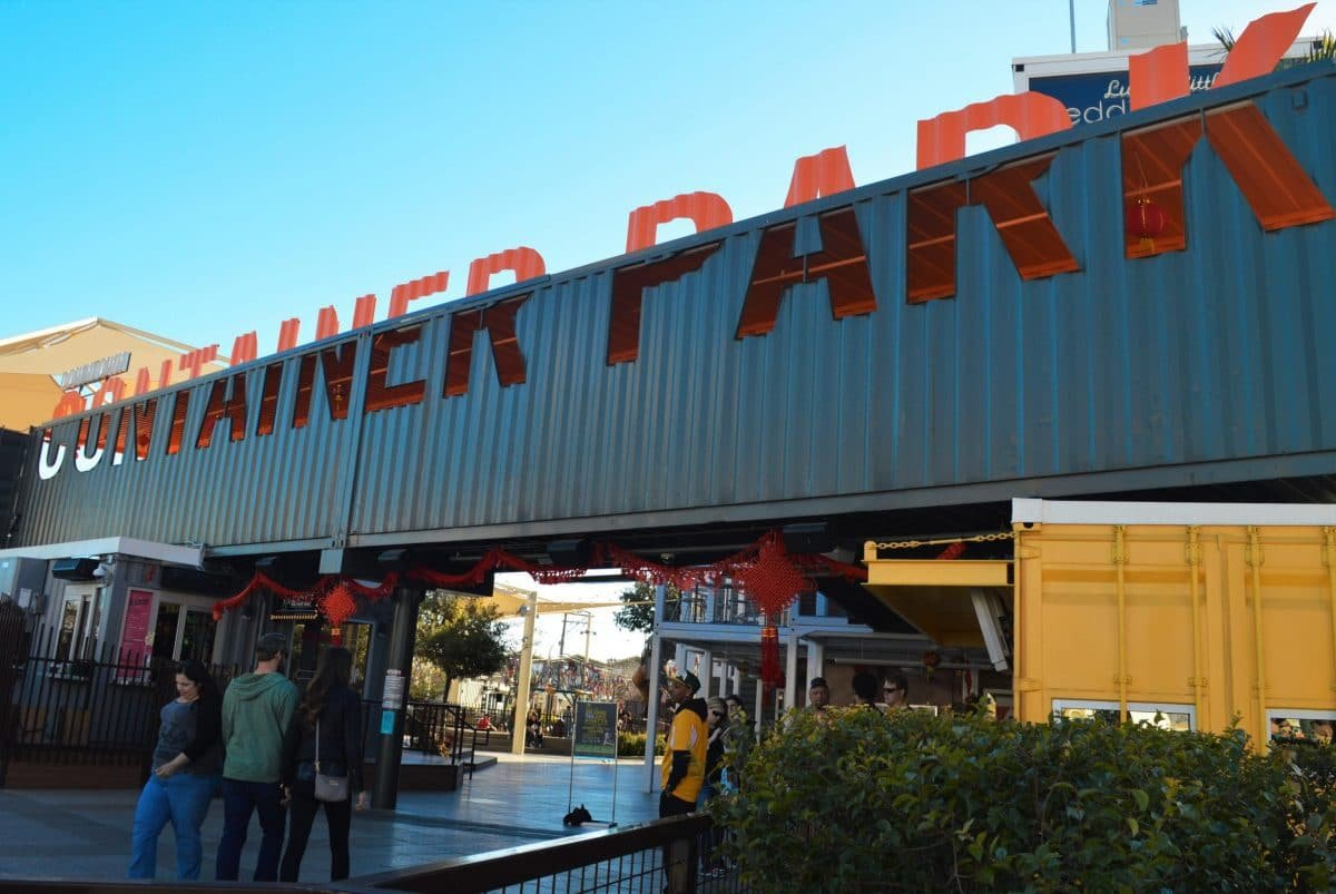 Downtown Container Park is made from shipping containers, including their sign
