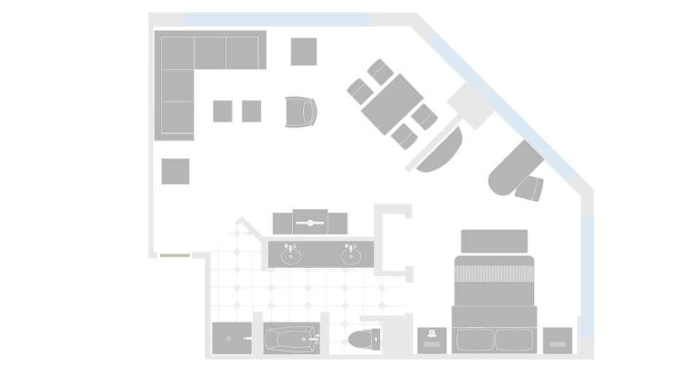 MGM Grand Las Vegas Tower One Bedroom Suite Floorplan