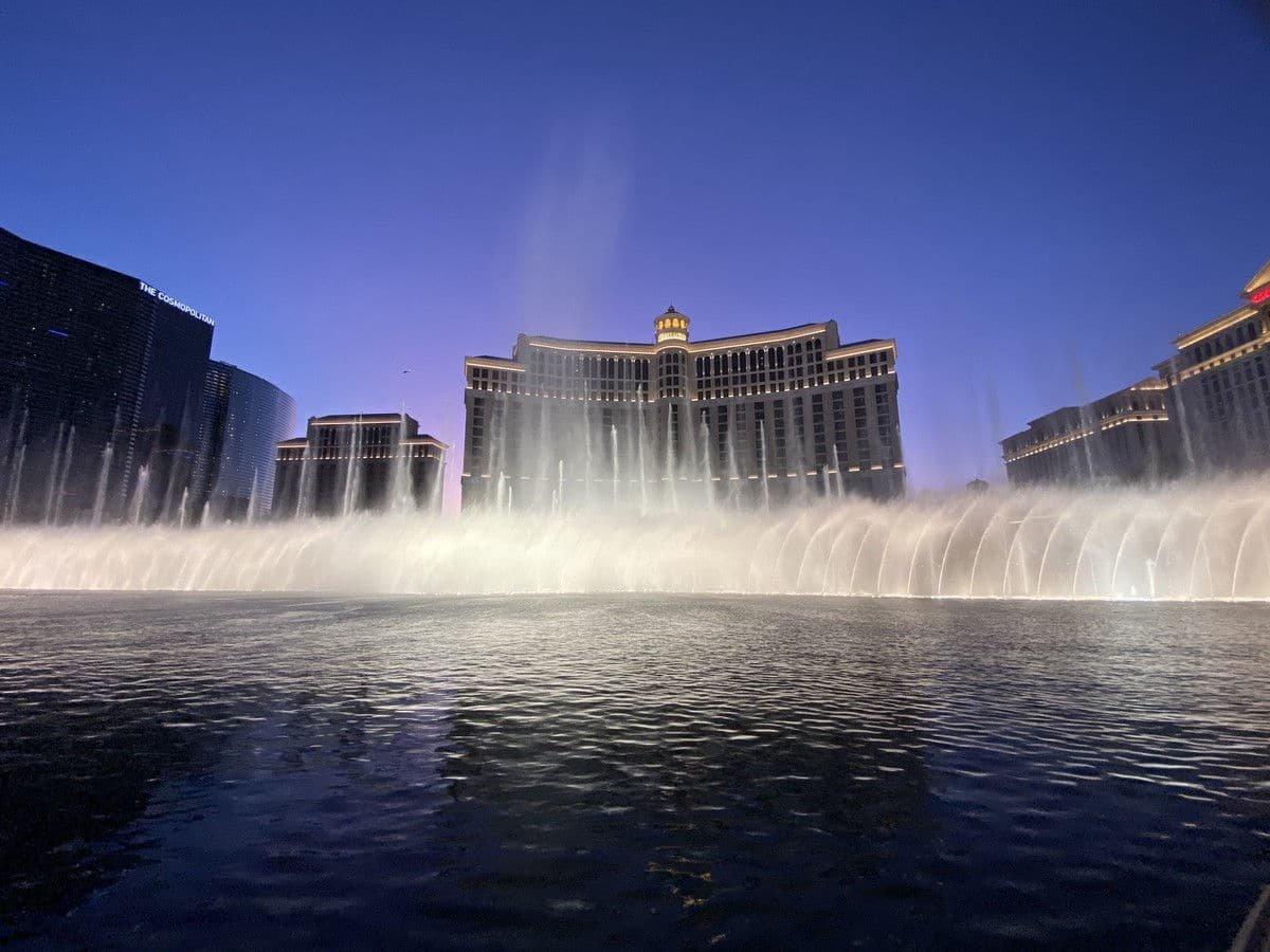 Bellagio Las Vegas Fountains at Dusk