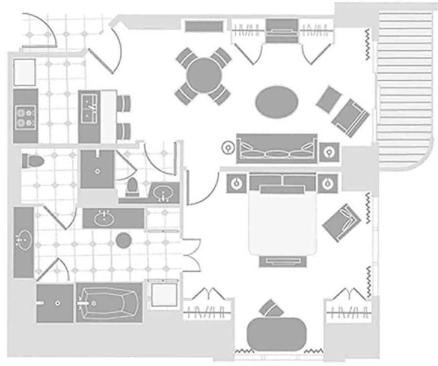 The Signature Las Vegas One Bedroom Balcony Suite Floor Plan
